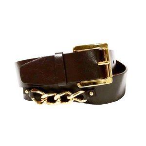 Michael Kors Waist Gold-Tone Chain Leather Belt